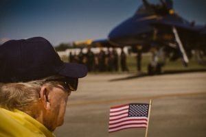 showing patriotic veteran at an airshow