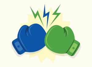 graphic showing boxing gloves representative of a showdown between CPAP machines and APAP machines