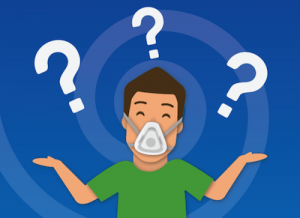 graphic showing a man wearing a CPAP mask, with question marks floating overhead