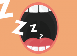 a graphic showing a woman snoring