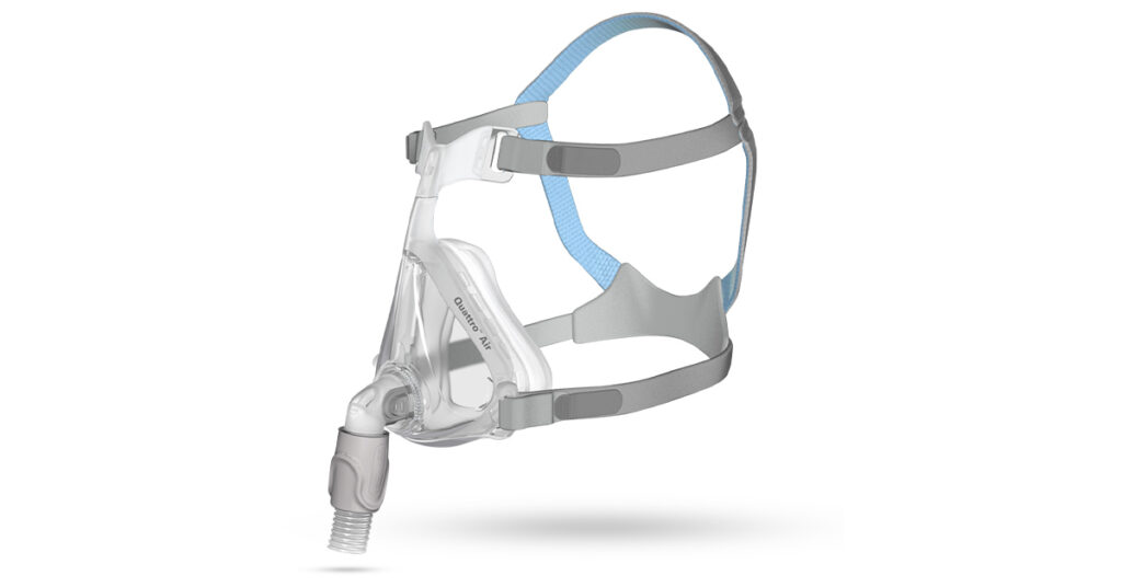 Quattro Air Full Face Mask With Headgear: Ultra-quiet CPAP mask with circular vent design that quietly disperses air and accommodates multiple sleeping positions