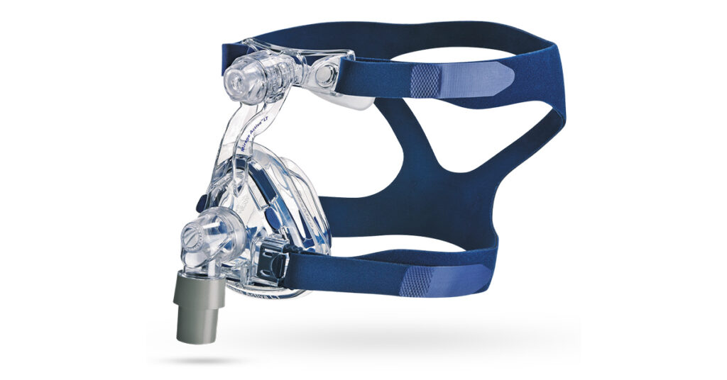 Mirage Activa LT Nasal CPAP Mask With Headgear: A nasal CPAP mask that offers 24 notches to adjust comfort level and fits wide range of facial structures