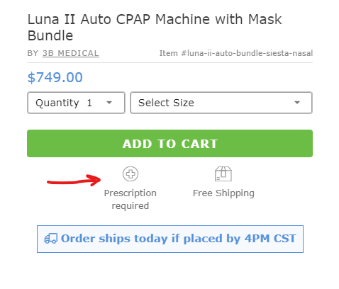 Example of CPAP prescription required on CPAP.com website